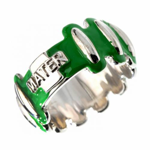 Rosary ring in silver 925 with green enamel, MATER s1