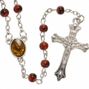 Glas Rosenkränze: Rosenkranz aus braunem Glas Pater Pio