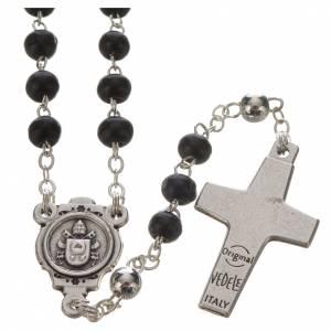 Rosenkränze: Rosenkranz und Kreuz Papst Franziskus schwarz
