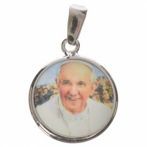 Pendants, crosses and pins: Round medal in silver, 18mm Pope Francis