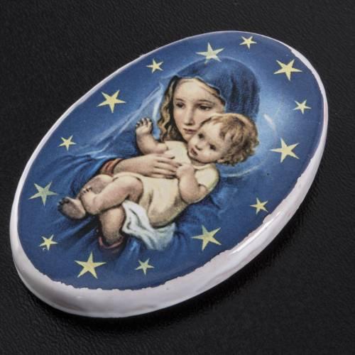 Round shaped magnet Virgin Mary, baby Jesus, terracotta s2
