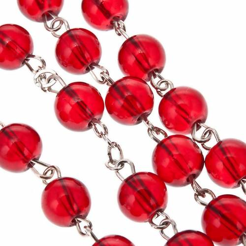 Ruby red glass rosary Miraculous Medal s3