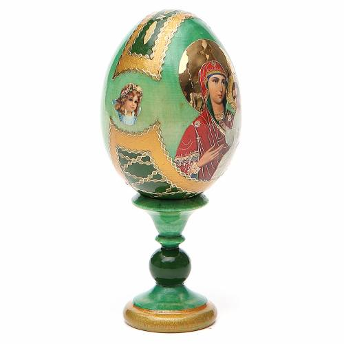 Russian Egg Smolenskaya Fabergè, green background 13cm s4