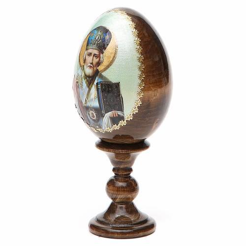 Russian Egg St. Nicholas green background découpage 13cm s2