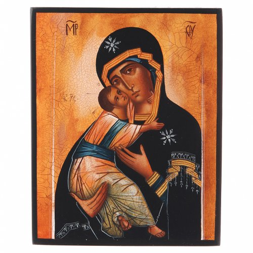 Russian icon, Our Lady of Vladimir 14x11cm s1