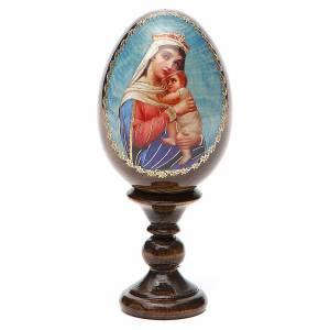 Handgemalte Russische Eier: Russische Ei-Ikone Gottesmutter der Hoffnung 13cm Decoupage
