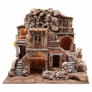 Rustic illuminated Hamlet for Nativity with hut 55x60x50cm s1