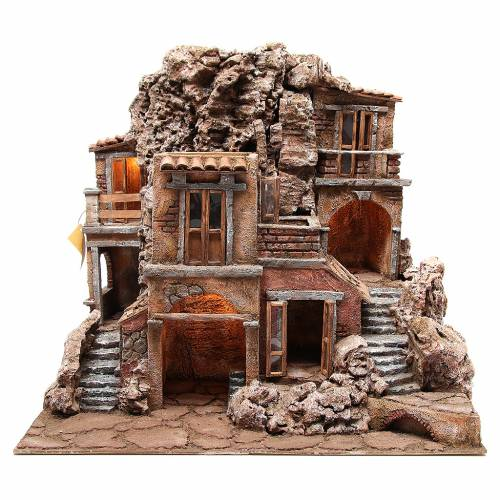 Rustic illuminated Hamlet for Nativity with hut 55x60x50cm 1
