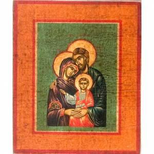 Icone Grecia dipinte e serigrafate: Icona Sacra Famiglia fondo verde marrone