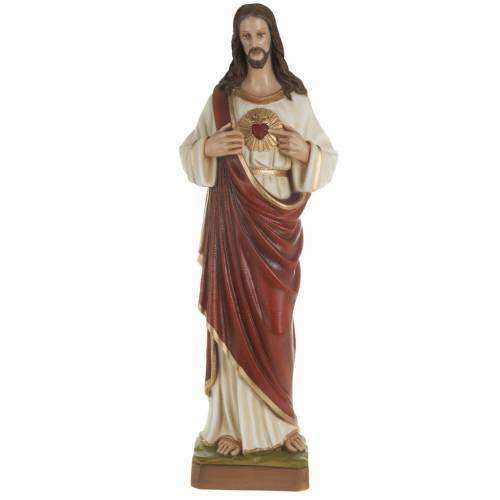 Sacré Coeur de Jésus marbre 80cm peint s1