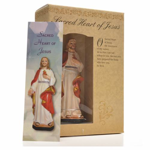 Sacred Heart of Jesus 12cm with image and ENGLISH PRAYER s3
