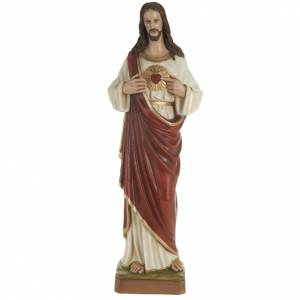 Sacred Heart of Jesus statue, 80cm in painted reconstituted marb s1