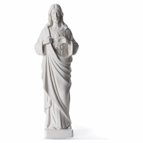 Sacro Cuore di Gesù 38-53 cm polvere di marmo bianco s1