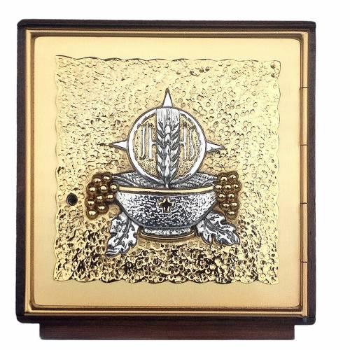 Sagrario de mesa madera y latón fundido dorado y plateado s1