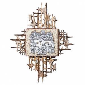 Sagrario de pared madera y latón oro y plata Última Cena s1