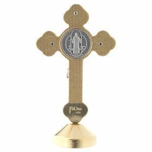 Saint Benedict gothic style red metal cross s4