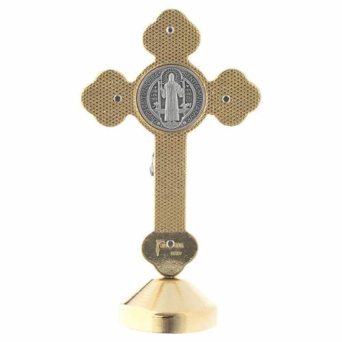Saint Benedict gothic style red metal cross s4