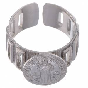 Prayer rings: Saint Benedict ring in 800 silver adjustable