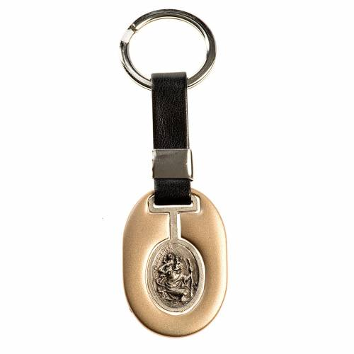 Saint Christopher keychain in ivory zamak and fake leather s1
