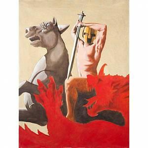Paintings, printings, illuminated manuscripts: Saint George and the dragon, canvas printing