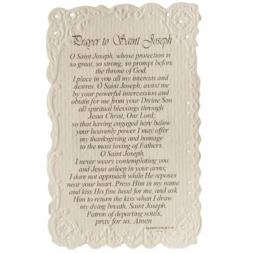 Saint Joseph holy card with prayer in ENGLISH s2