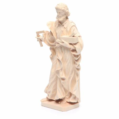 Saint Joseph the worker statue in natural Valgardena wood s2