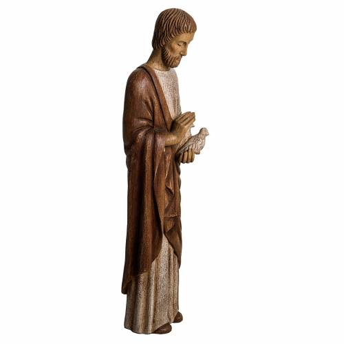 Saint Joseph with dove statue in wood, 60 cm s2