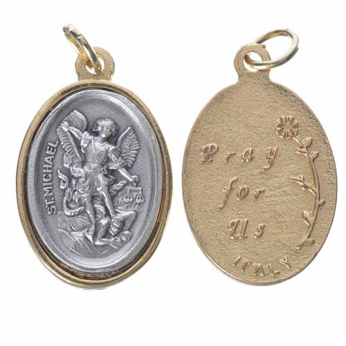 Saint Michael silver and golden medal 2.5cm s1