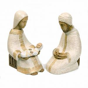 Crèches Monastère de Bethléem: Sainte Famille nativité blanche