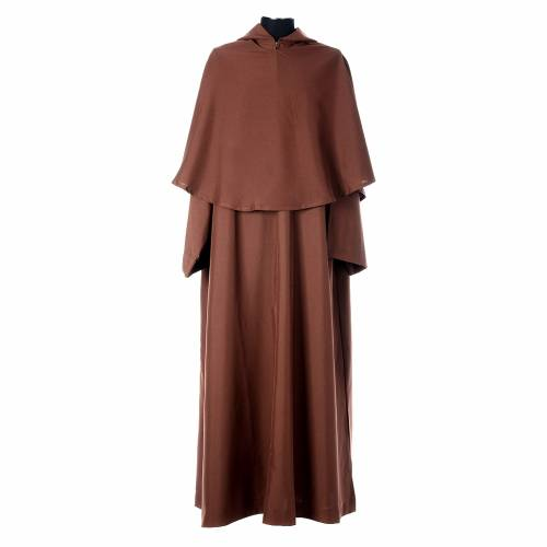 Saio francescano con mantella marrone poliestere s1