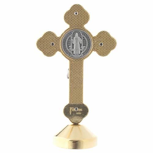 Croce san Benedetto tavolo metallo gotico rosso s4