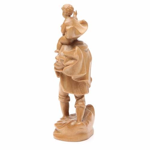 San Cristoforo con bimbo legno Valgardena patinato s3