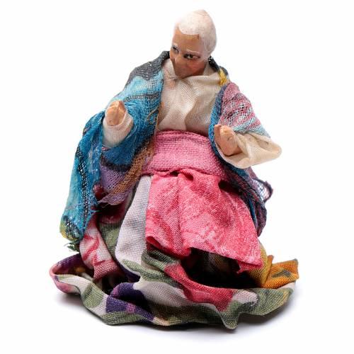 Santon crèche Napolitaine 8 cm femme âgée assise s1