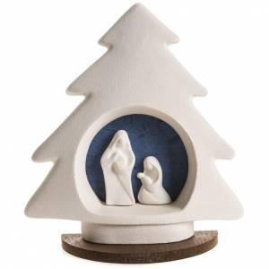 Sapin Noel sur base Nativité bleue argile s1