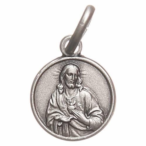 Scapulaire médaille Sacré Coeur argent 925 10 mm s1