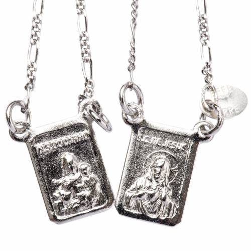 Scapular in 800 silver, Our Lady and Jesus s1