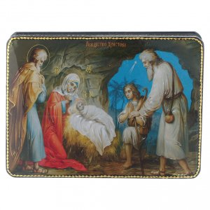 Scatola russa cartapesta Gesù, la nascita Fedoskino style 15x11 s1
