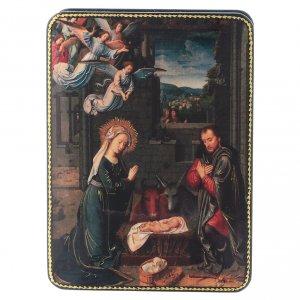 Scatola russa cartapesta Nascita Cristo di David Fedoskino style 15x11 s1