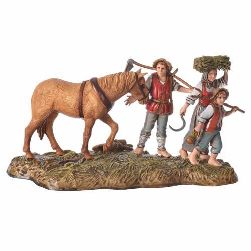 Scène agriculteurs avec cheval 10 cm Moranduzzo s1