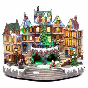 Villages de Noël miniatures: Scène Noël musicale avec lumières 29x40x24 cm