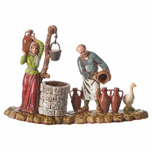 Scene with 3 shepherds, nativity figurines, 10cm Moranduzzo s4