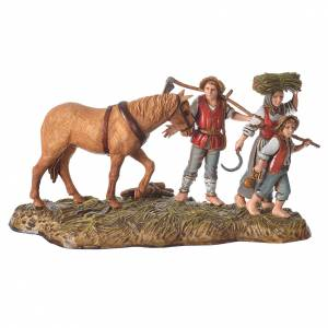 Scene with farmers with horse, nativity figurines, 10cm Moranduzzo s1