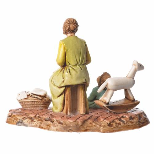 Scene with woman and child nativity figurines 10cm Moranduzzo s2