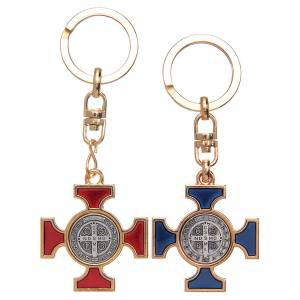 Schlüsselringe: Schluesselhaenger Kelten Kreuz vergoldet nickeliert Heilig Bened