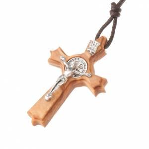 Holz Kreuzanhänger: Schmuckanhaenger Kreuz Heilig Benediktus mit Spitzen