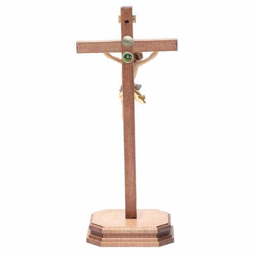 Sculpted table crucifix, Corpus model in painted Valgardena wood s4