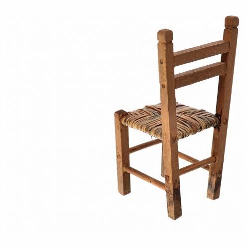 Sedia impagliata in legno presepe 9,5x4x4 cm s2