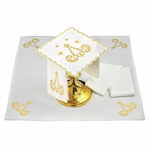 Service linge autel coton sapin de Noël étoiles s1
