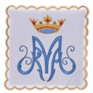 Servizi da messa e conopei: Servizio da messa ricamato simbolo mariano M