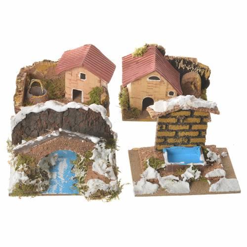 Set de 12 maisons décor crèche 6x10x6 cm s2